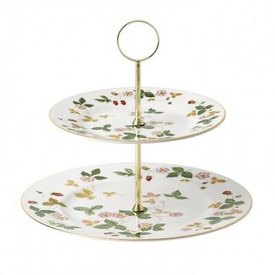 Wedgwood Wild Strawberry 2 Tier Cake Stand # 40001783 Brand New