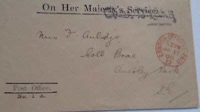 """GB QV """"ON HER MAJESTY'S SERVICE"""" FINE COVER Post Office 1900"""
