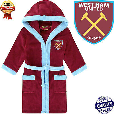 Boys Official West Ham United Fc Hooded Fleece Dressing Gown Robes