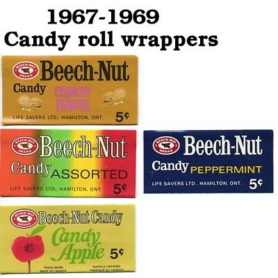 4 Beech-Nut Candy Wrappers Hamilton Ontario 1967-1969 - round hole candy  5 cent