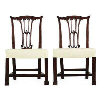 Pair of English Chippendale Mahogany Side Chairs in Gothic taste c. 1780