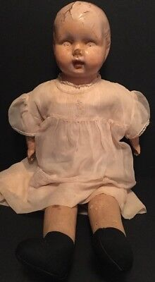 """Antique Vintage 1920's Large 24"""" Composite & Cloth Doll in Old Victorian Dress"""