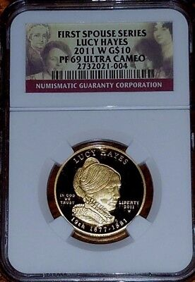 2011-W  $10 Gold 1/2 oz. Lucy Hayes First Spouse Series       PF69 Ultra Cameo