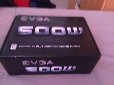 EVGA White 500 500W Gaming PC PSU Power Supply 80 Plus Rated 120mm Fan