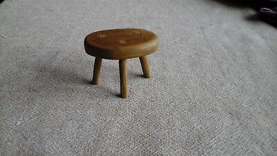 Vintage Solid Oak Miniature Three Leg Stool Ideal For Dolls House