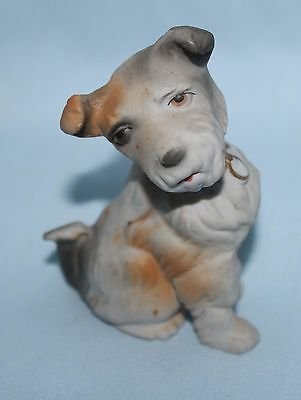 dog figurine Orion terrier Japan 4 inches ceramic/bisque gold collar