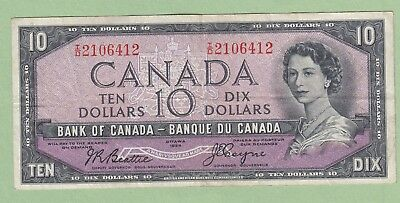 1954 Bank of Canada 10 dollar Note Devil's Face - Beattie/Coyne -I/D2106412 - VF