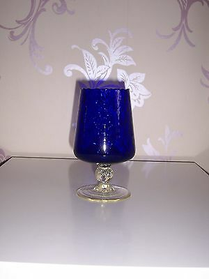"BLUE GLASS DIMPLED GOBLET / VASE WITH CLEAR BASE  6.25"" HIGH  (16cm approx)"
