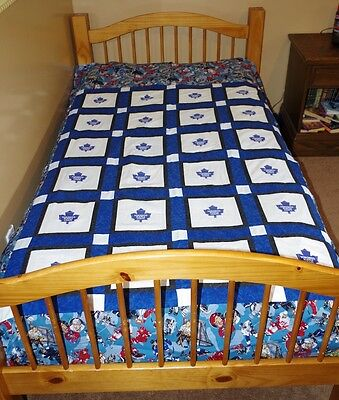 Handmade Patchwork Quilt Toronto Leafs Quilt Hockey 68 X 86 Twin Double Bedding