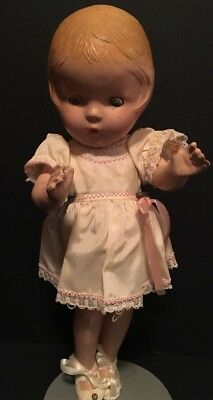 """Antique Vintage 1930's 13"""" Composition Doll w/ Sleepy Eyes, Dress & Shoes"""