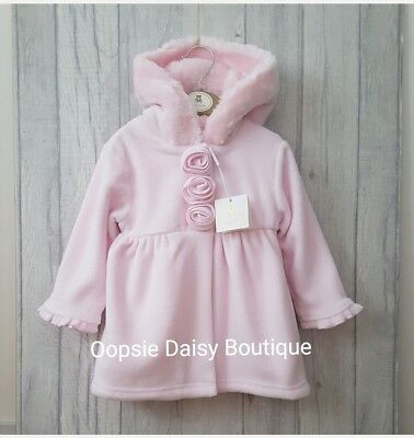 ☆ Stunning Baby Pink Traditional Style Smocked Coat Fur Trim Hood Mintini Baby☆
