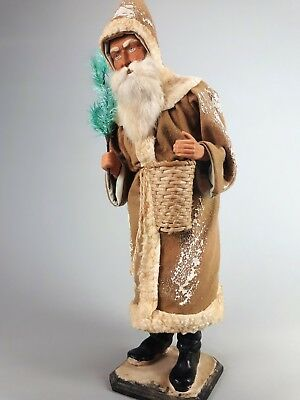 """25,5""""Paper mache*German Santa* candy container *(tanned)by Paul Turner CS17-034"""