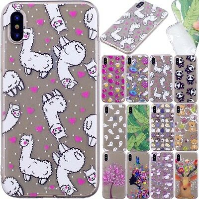 Animal Pattern Rubber Silicone Clear Soft TPU Back Cover Case For Huawei iPhone