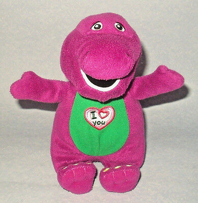 "Barney I Love You - Singing Barney The Dinisaur 10"" Plush Soft Toy Doll Vgc"