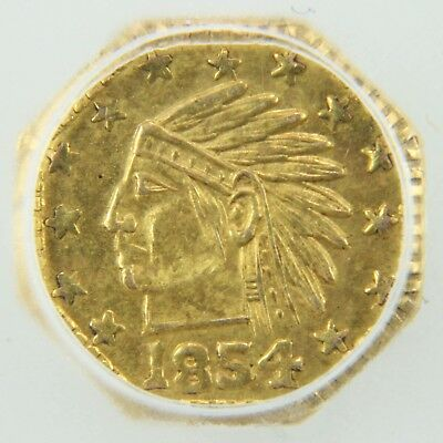 1854 California Gold Token Octagonal Indian - MS65