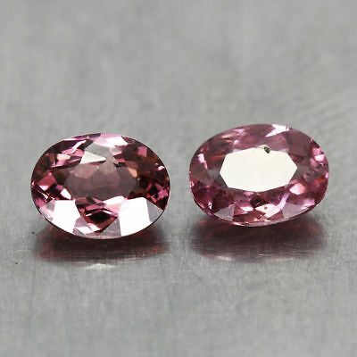 1.38CT. 2pcs 6x4.5mm NATURAL MALAYA GARNET Oval PINK PURPLE / S01709