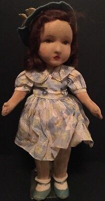 """Old Antique 17"""" Straw Stuffed Girl Doll Mohair w/ Dress, Hat & Shoes RARE"""