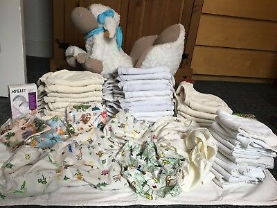 31 used mother ease birth to potty reusable cloth nappies + liners+bundle