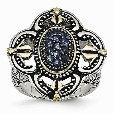 Antiqued Stainless Steel Blue Glass W Yellow Plating Vintage Style Ring - Size 7