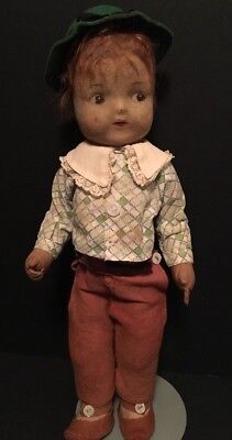 """Old Antique 15"""" Straw Stuffed Boy Doll Mohair w/ Clothes, Hat & Shoes Jointed"""