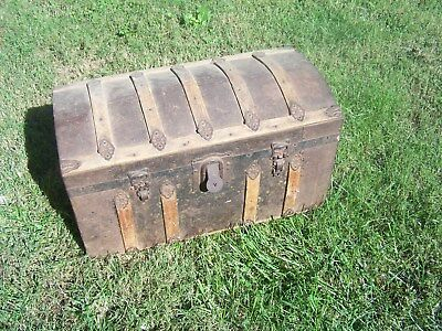 Antique, Vintage humpback small Trunk, chest for restore, Restoration etc.