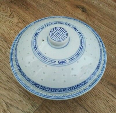 Real Chinese Blue-White Rice Porcelain Soup Vase Dish In Great Condition