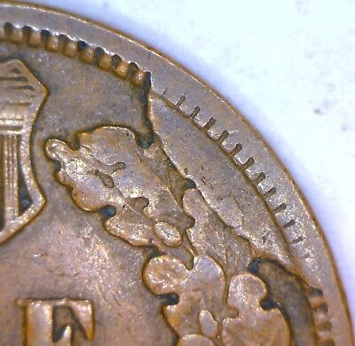 1905 Indian Cent With Good-size Retained Cud Die Break Mint Error; F