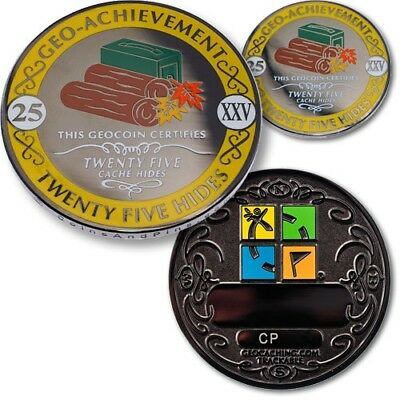 Geo-Achievement Geocaching Achievement Geocoin and Pin Set - 25 Hides