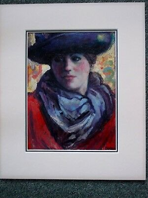 """Acrylic On Board Portrait """"the New Hat"""" By Brian Matravers """"the Mill""""lyme Regis"""