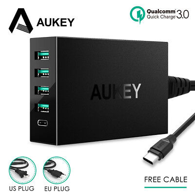 AUKEY USB Charger 5-Port Quick charge 3.0 Type-C Desktop Charger Phone Charger