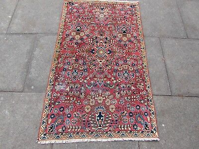 Shabby Chic Old Traditional Hand Made Persian Oriental Pink Wool Rug 141x84cm