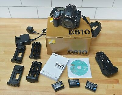 Nikon D810 36.3MP Digital DSLR Camera - Black (Body Only) with battery grip.