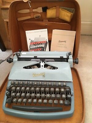 Rheinmetall Antique Portable Typewriter In Case With User Manual And Accessories