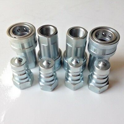 "3/8"" NPT, ISO-7241-1-A Coupling Hydraulic Quick Disconnect SMS-06-AF+AM 4 Sets"