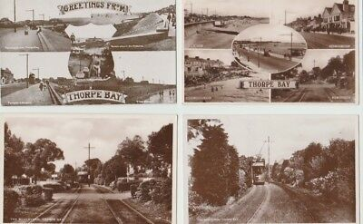 4 Early Essex Rp Postcards: Thorpe Bay Street Scenes With Trams
