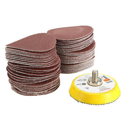 "61pcs/Set 2"" inch 50mm Grit Sanding Disc Disk Polishing+ M6 Sanding Backing Pad"