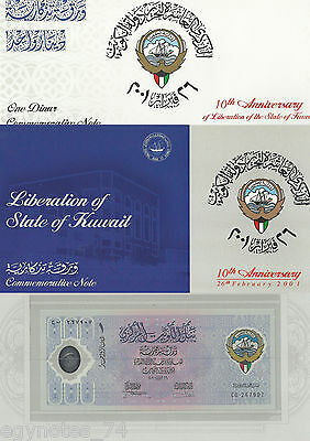 Kuwait , 1 Dinar Commorative To 10Th Liberation Anniv. 2001 ,in Original Package