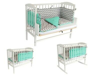BABY Crib Bedside Cot bed Solid Wooden White Mattress Next to Me From Birth