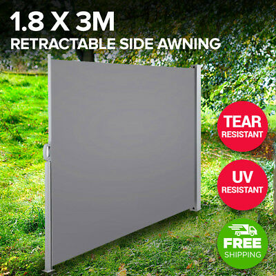Retractable Side Awning Shade 180cm Outdoor Sun Weather Protection Grey