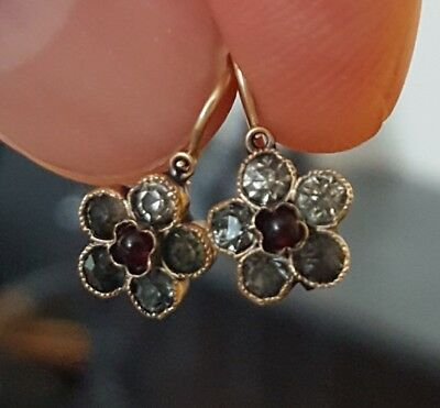 Ladies Antique Victorian 14K Yellow Gold Floral Garnet Smoky Quart Drop Earrings