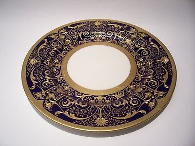 1 Lenox Raised Gold Encrusted Cobalt Cabinet Plate 1830 )B.363.b.- 10 3/8 Inches