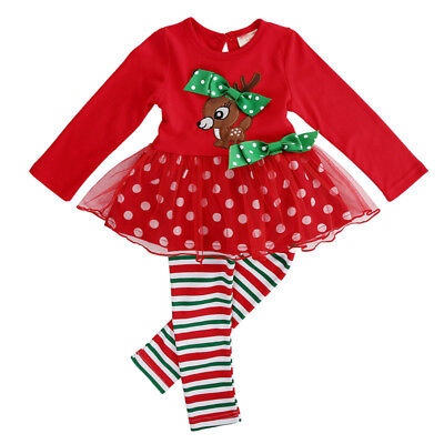 Cute Christmas Reindeer Girls Dress Outfit Set Tutu Toddler Party Kids Clothes