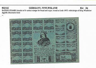 Cinderella Poland 1917 WW1 Rationing Stamps