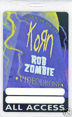 Korn & Rob Zombie - Laminated All Access Backstage Pass