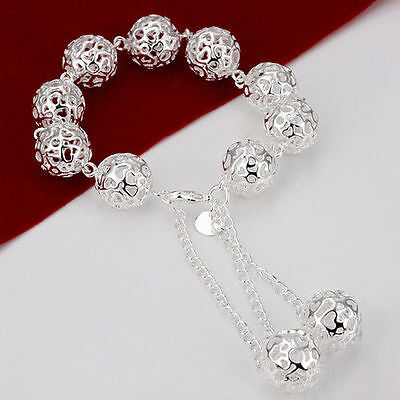 Trendy Classic Jewelry 925Sterling SILVER Charm Hollow Balls Bracelet Bangle