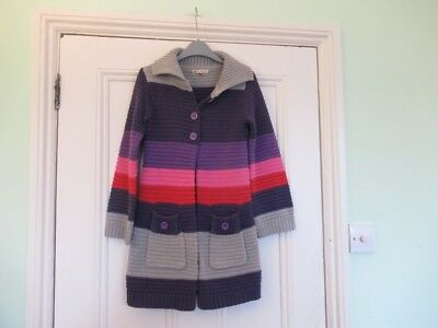 8-9 yrs: Long cardigan/ knitted coat: Purple/pink/red colour block: John Lewis