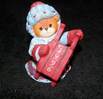 Enesco Lucy and Me Figurine 1984 Bear with Sled.