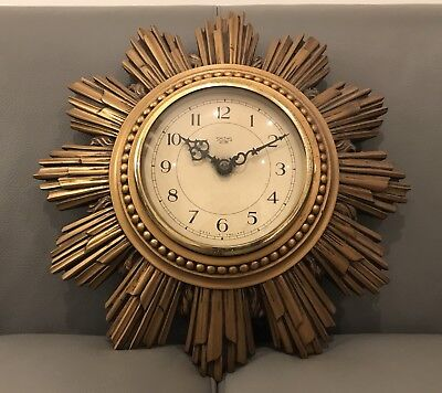 1930's Rare Smiths Sectric Sunburst Sandown Electric Wall Clock