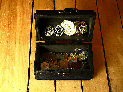 pirate wood treasure chest with 50 diff. world coins