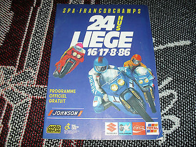 1986 Spa Francorchamps Programme - Motorcycle 24 Hours